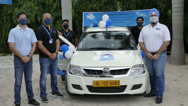 BluSmart mobility team undertaking an all-electric journey from Delhi to Mumbai