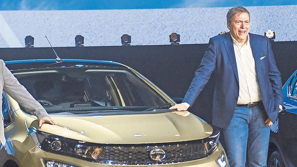 Tata Motors Guenter Butschek posing next to Tata Altroz. (File photo)