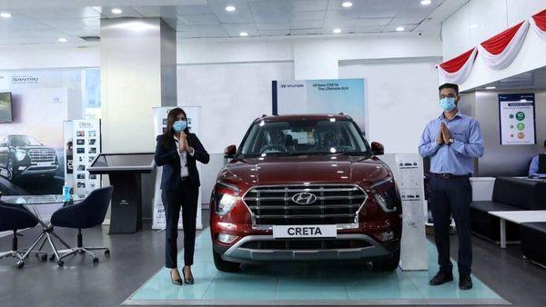 A Hyundai showroom with the new Creta on display. (File photo)