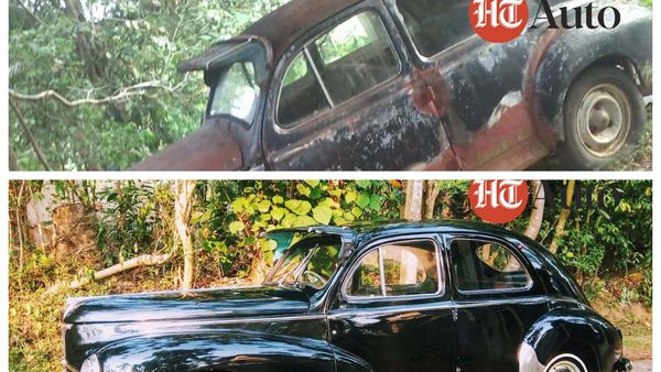 Before and after images of the restored Peugeot 203. (Photo courtesy: Facebook profile of Chathura Vithanage/ @/vithanage.chathura)
