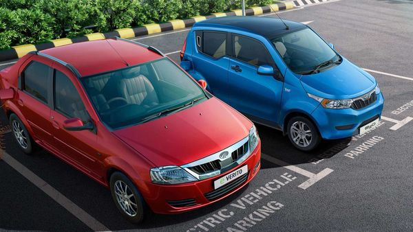 A Mahindra eVerito and e2oPlus seen parked side by side.