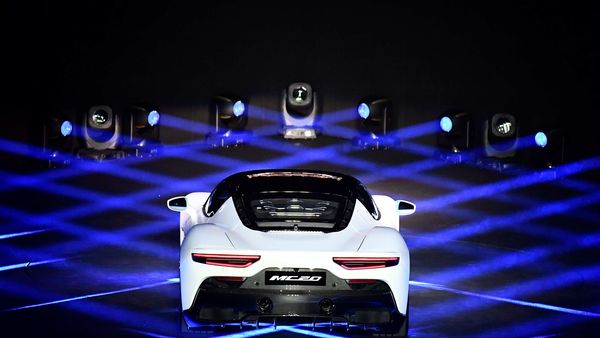 Maserati unveils its new MC20 super sports car, a key release in a pipeline of new models, including hybrid and full electric ones, in Modena, Italy. (REUTERS)