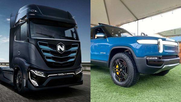 Nikola (L) and Rivian's electric pickup trucks
