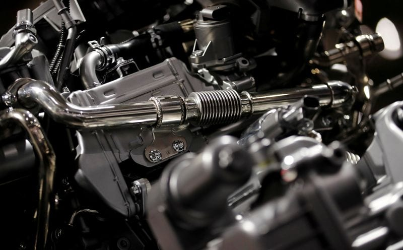 File photo - A diesel engine is pictured at the Daimler annual shareholder meeting in Berlin, Germany.