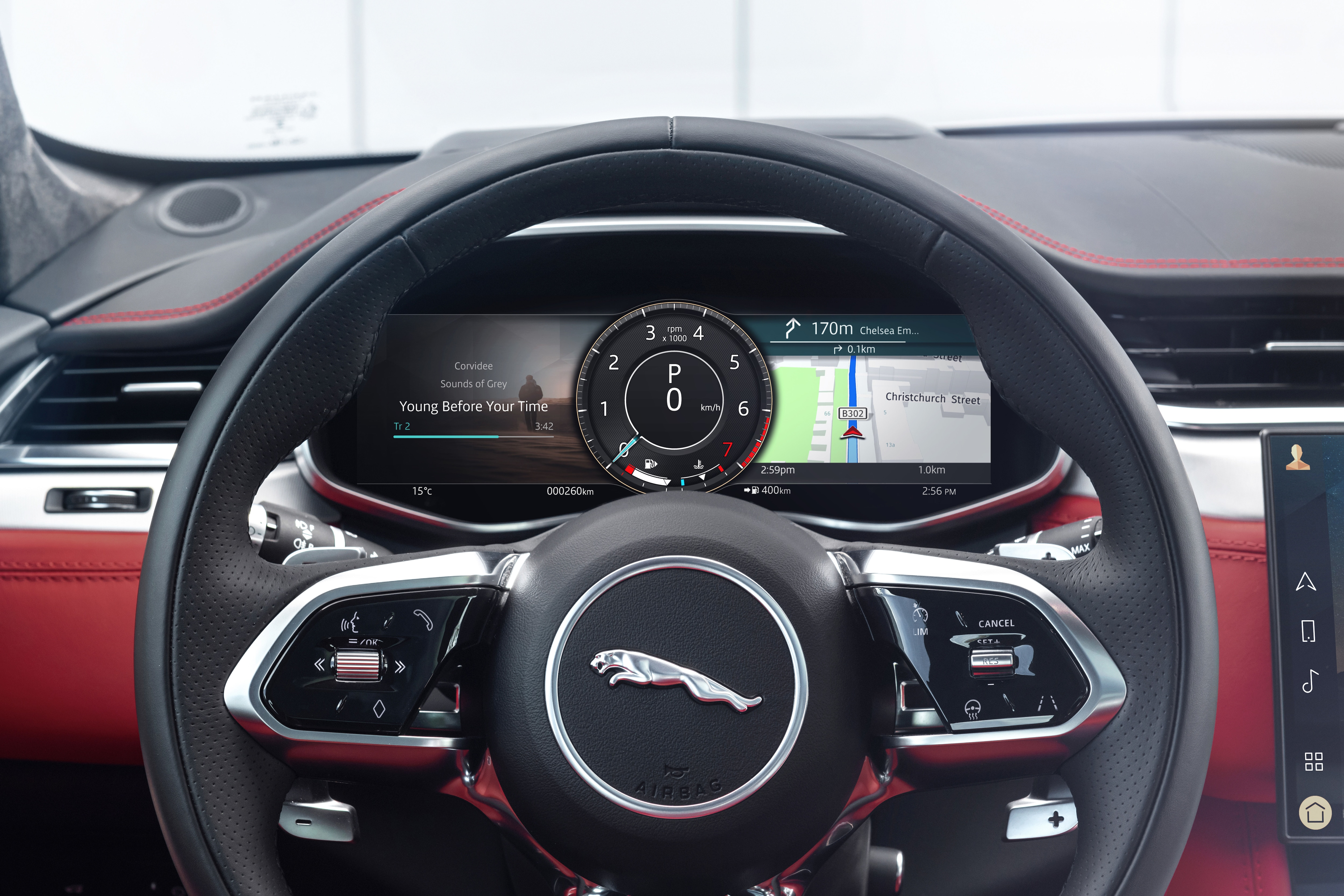 The new F-Pace borrows the steering from the I-Pace, including touch-sensitive buttons and a simple three-spoke design.
