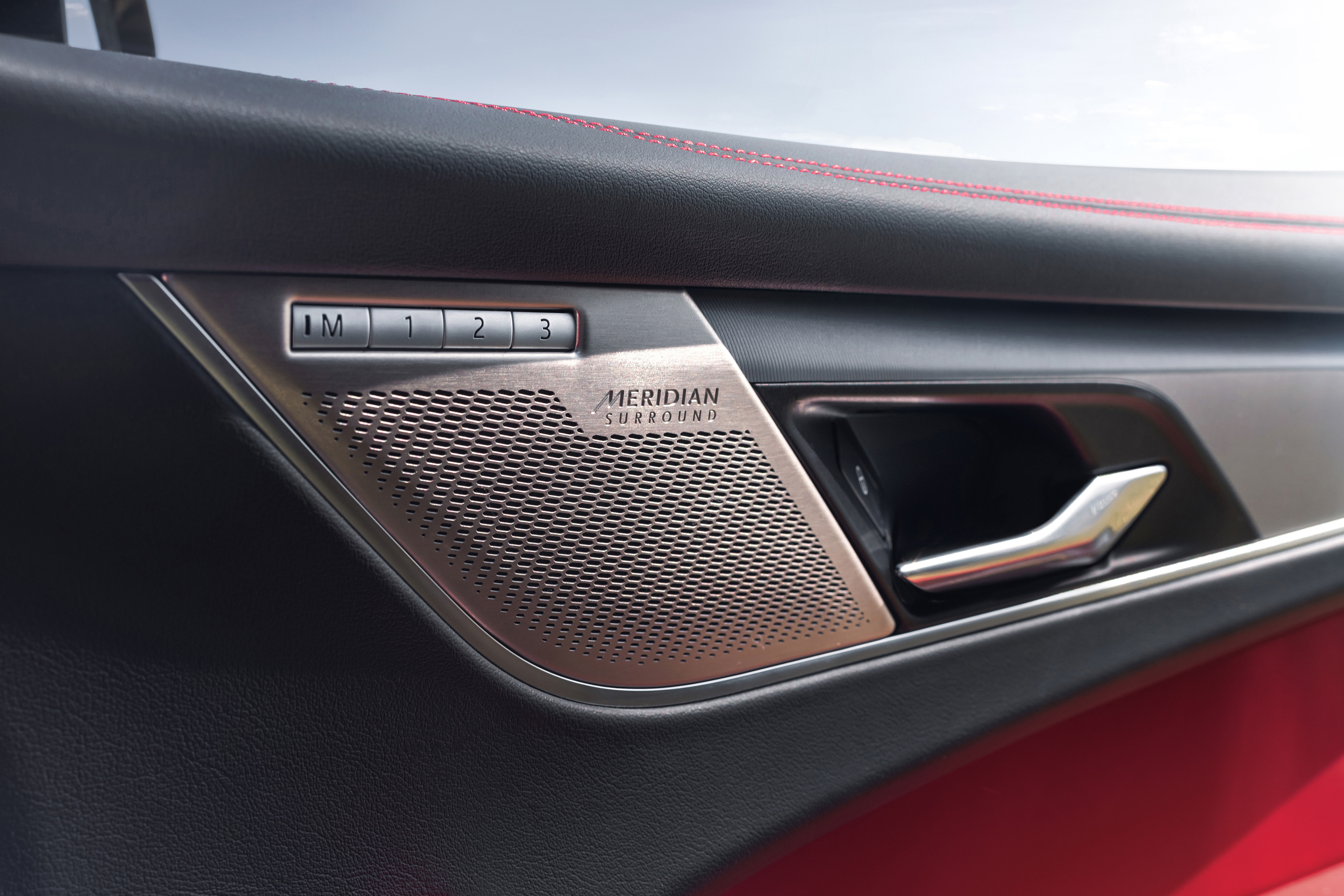 A 10-color ambient lighting, keyless start and a 14-speaker Meridian sound system now come standard in the new F-Pace.