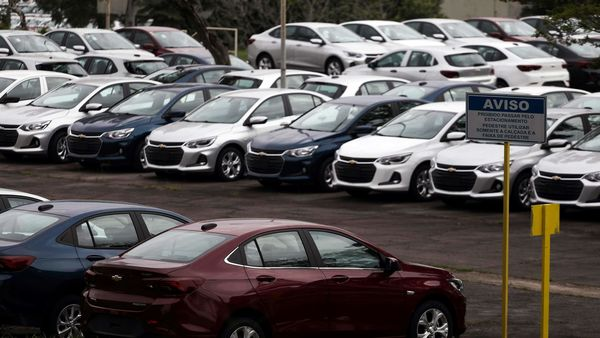Cars are pictured at the General Motors Co plant, that will give time off to its employees during the coronavirus disease (Covid-19) outbreak. (REUTERS)