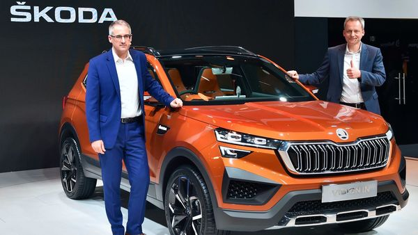 File photo: Skoda India Sales & Marketing chief Zac Hollis with the Skoda Vision IN. (PTI)