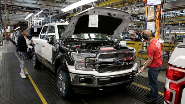File photo of a 2018 F150 pick-up truck at Ford's Dearborn Truck Plant in Dearborn, Michigan. (This image has been used for representational purpose only) (REUTERS)