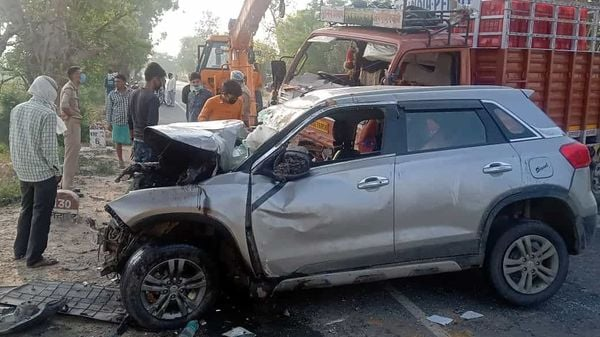 File photo: A damaged Brezza car after an accident, in Agra on May 3.