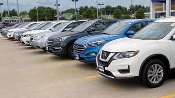 File photo of cars lined up at a used car retail store in United States. (REUTERS)