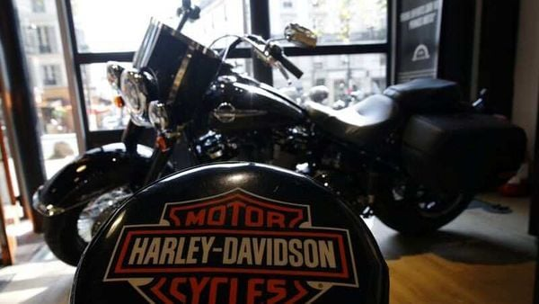 File photo - The logo of U.S. motorcycle company Harley-Davidson is seen on one of their models at a shop. (REUTERS)