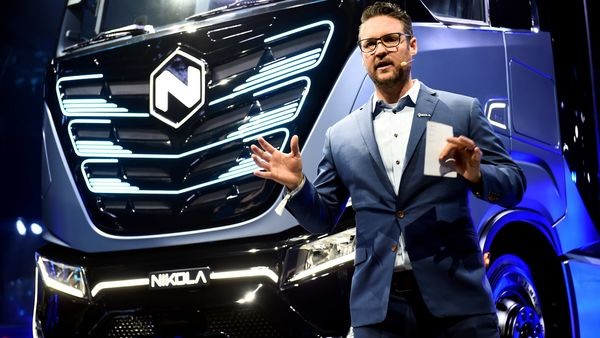 File photo - CEO and founder of Nikola, Trevor Milton speaks during presentation of its new full-electric and hydrogen fuel-cell battery truck. (REUTERS)