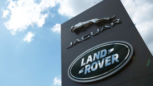 The Jaguar Land Rover logo is seen at a dealership. (REUTERS)