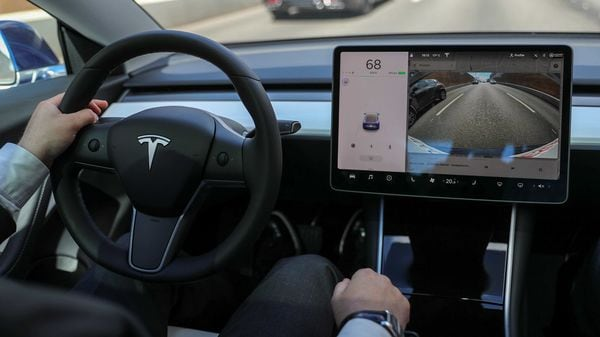 The interior of a Tesla Model 3 electric vehicle is shown in this picture (REUTERS)