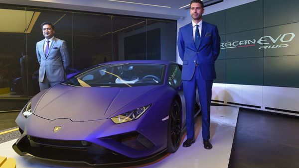 File photo of Sharad Agarwal, Head, Lamborghini India (L) and Matteo Ortenzi, Chief Executive Officer, Automobili Lamborghini Asia Pacific, during the unveiling of Lamborghini Huracan EVO RWD, in Delhi. (PTI)