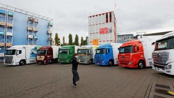 New hydrogen fuel cell trucks made by Hyundai are pictured ahead of a media presentation for the zero-emission transport of goods at the Verkehrshaus Luzern (Swiss Museum of Transport) in Luzern, Switzerland. (REUTERS)