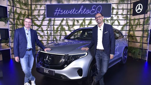 Martin Schwenk (left), MD and CEO at Mercedes-Benz India with Santosh Iyer, VP, Sales and Marketing with the newly-launched EQC.