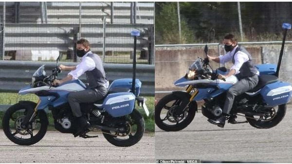 Tom Cruise spotted amidst action on BMW G 310 GS for Mission Impossible 7. Picture Courtesy: Oliver Palombi MEGA