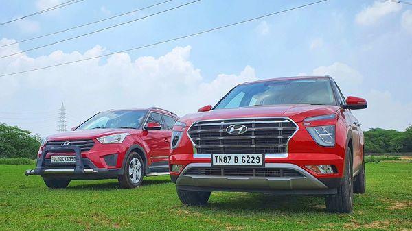 First and second-gen Hyundai Creta picture side by side. (HT Auto/Sabyasachi Dasgupta)
