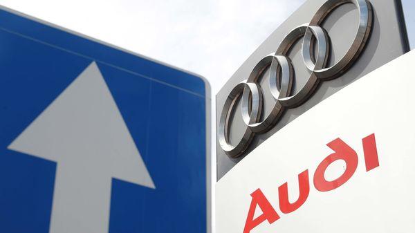 A logo of the German car manufacturer Audi is pictured at a dealership in Kiev, Ukraine June 9, 2020. (REUTERS)