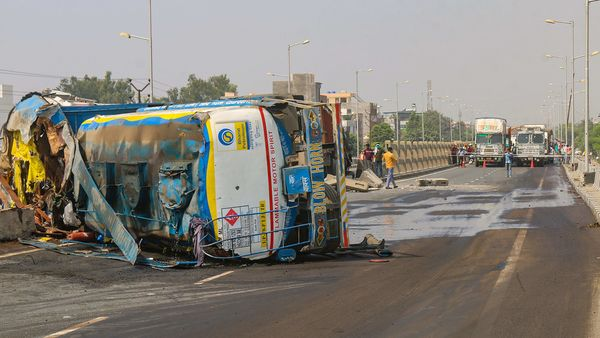 Kanpur: A tanker laden with petrol overturned following an accident, at Barra flyover in Kanpur, Friday, Oct. 9, 2020. (PTI Photo)(PTI09-10-2020_000146B) (PTI)
