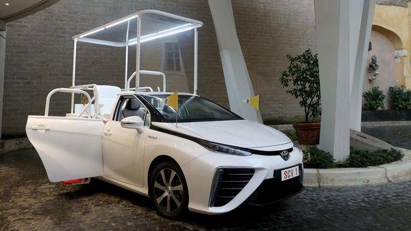 Hydrogen-powered Toyota Mirai modified as Popemobile