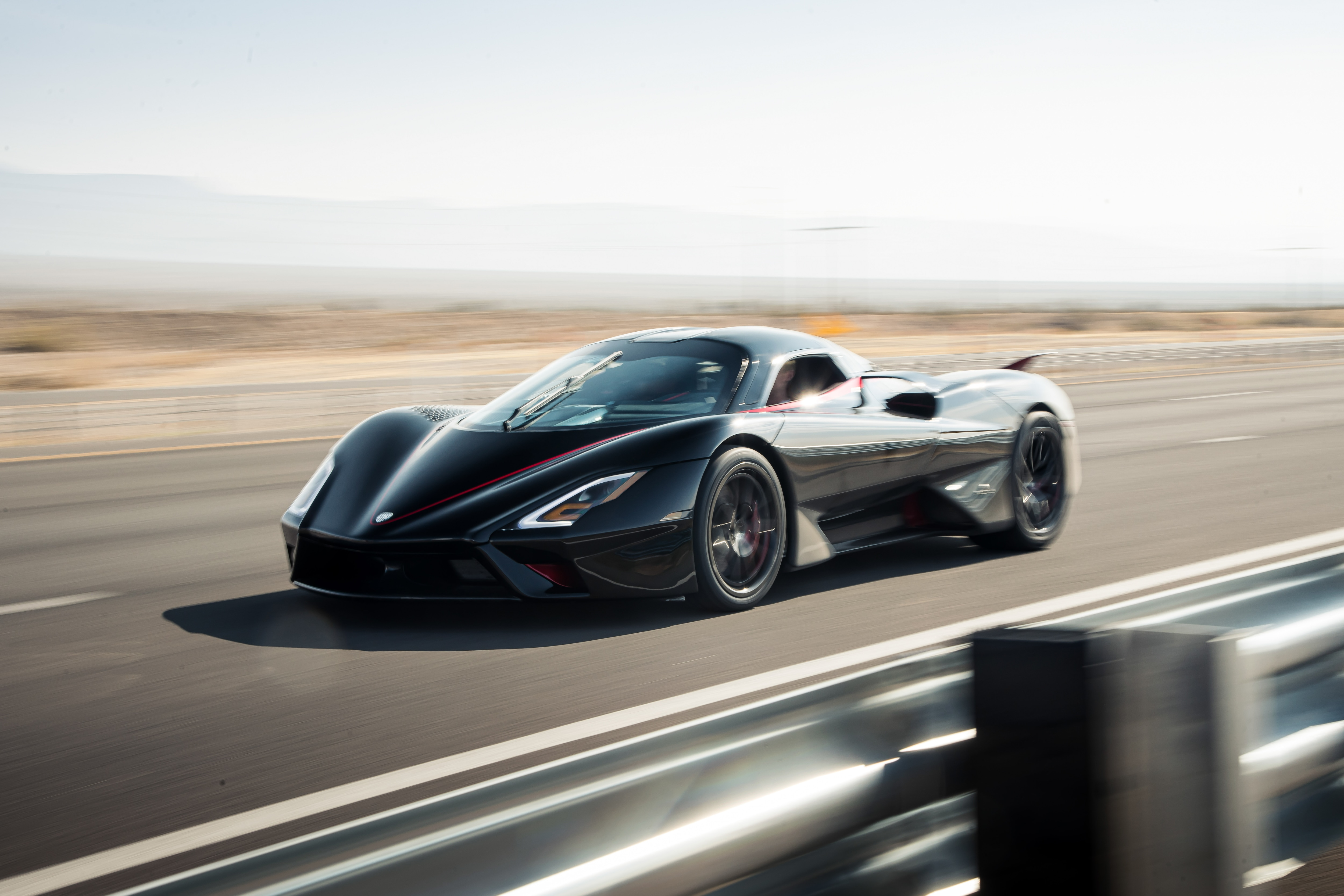 SSC Tuatara race against the clock on a public road just outside of Las Vegas.