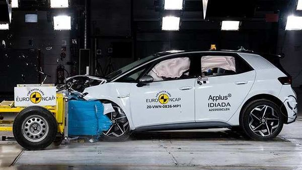 Volkswagen ID.3 being tested at Euro NCAP facility for safety standards.