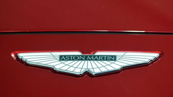 A logo on the new Aston Martin DBX at the new Aston Martin Lagonda factory in Britain. (File Photo) (REUTERS)