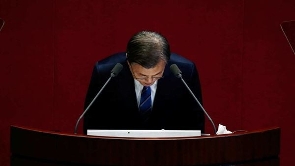 South Korean President Moon Jae-in bows after speaking at the National Assembly in Seoul. (REUTERS)