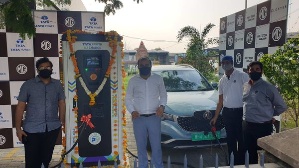 The superfast EV charging station in Nagpur.