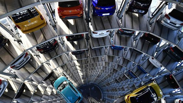 Cars at a storage facility auto tower in Wolfsburg, northern Germany. (Representational photo) (AFP)