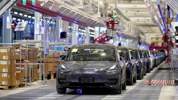 Tesla army marches on! File photo of Tesla Model 3 EVs at its Shanghai facility. (REUTERS)