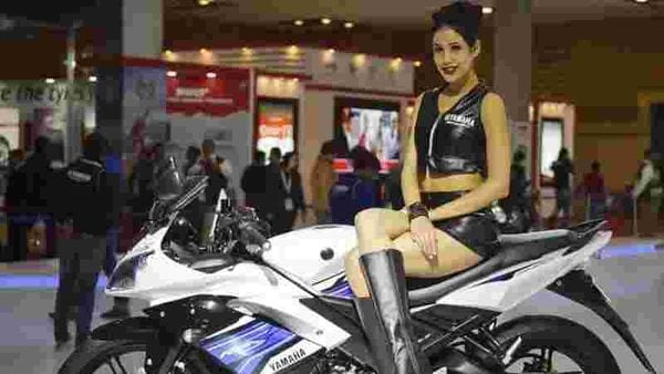 File photo of a model on a Yamaha bike at an automotive exhibition. (HT Photo)
