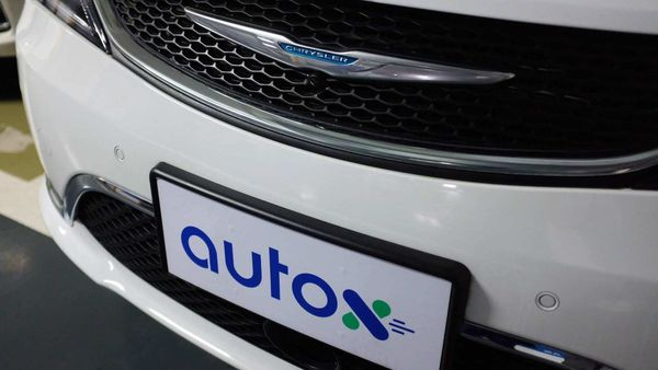A sign of Alibaba-backed autonomous driving startup AutoX is seen on a modified Chrysler Pacifica minivan in Shenzhen, Guangdong province, China October 31, 2020. (REUTERS)