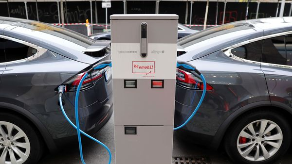 Tesla Model X electric cars recharge their batteries in Berlin. (File photo used for representational purpose)