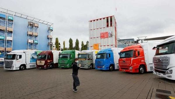 New hydrogen fuel cell trucks made by Hyundai are pictured ahead of a media presentation for the zero-emission transport of goods at the Verkehrshaus Luzern (Swiss Museum of Transport) in Luzern, Switzerland. (File photo) (REUTERS)