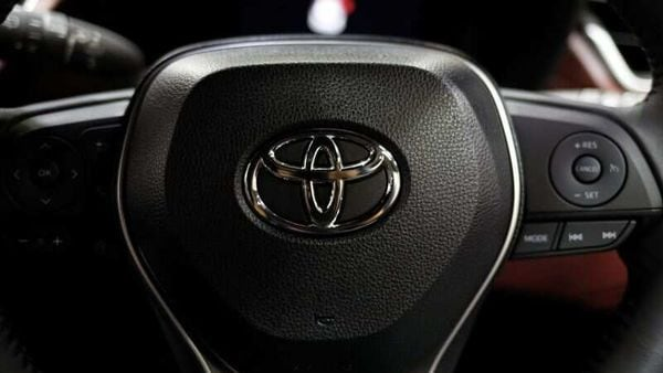 The Toyota emblem is seen on the tyre rim of a vehicle. (File photo) (REUTERS)