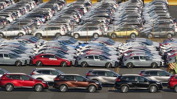 Honda Motor Co. vehicles bound for shipment at a port in Yokohama, Japan, on Saturday, Oct. 31, 2020. Japan�s�exports�fell by the smallest margin in seven months in September in another sign that the pandemic�s hit on global trade is easing. Photographer: Toru Hanai/Bloomberg (Bloomberg)