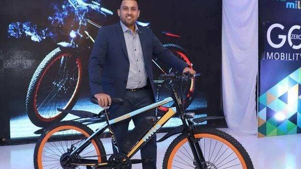 Ankit Kumar CEO GoZero pictured with a GoZero Mobility bike.