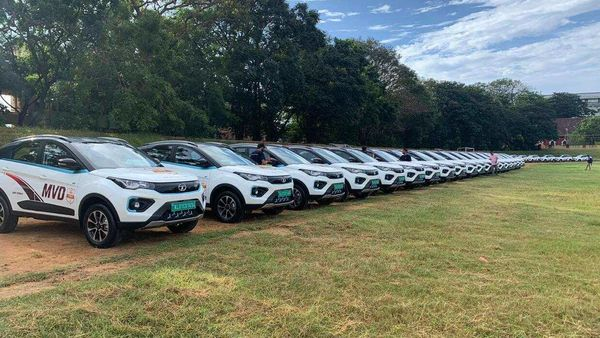 Tata Nexon EVs which will now be a part of Kerala's Motor Vehicle Department.