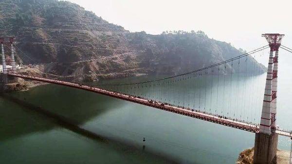 India's longest motorable Dobra Chandhi Jhula bridge is now open for traffic. (ANI)