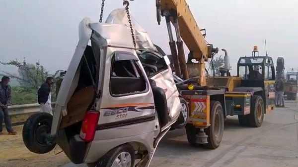 A view of a crushed vehicle as two people died and several were injured in a road accident on Yamuna Expressway.