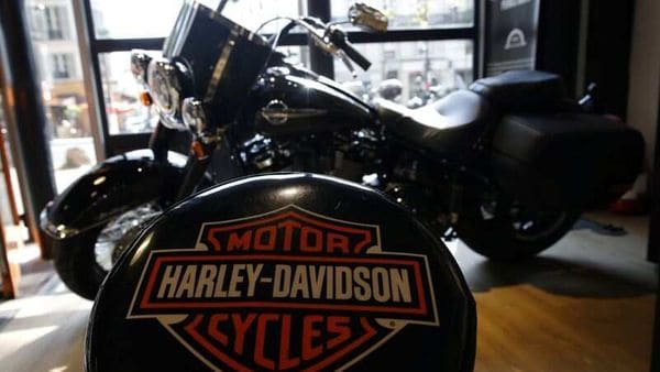 File photo - The logo of US motorcycle company Harley-Davidson is seen on one of their models at a shop. (REUTERS)