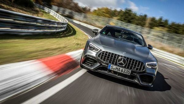Mercedes AMG GT 63 S 4MATIC being pushed to its limits at Nurburgring.