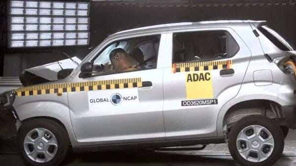 Screenshot from the video of the Global NCAP test on the S-Presso.