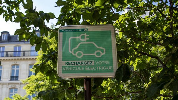 An electric vehicle charging station street sign sits on display in Paris, France. (File photo used for representational purpose). (Bloomberg)