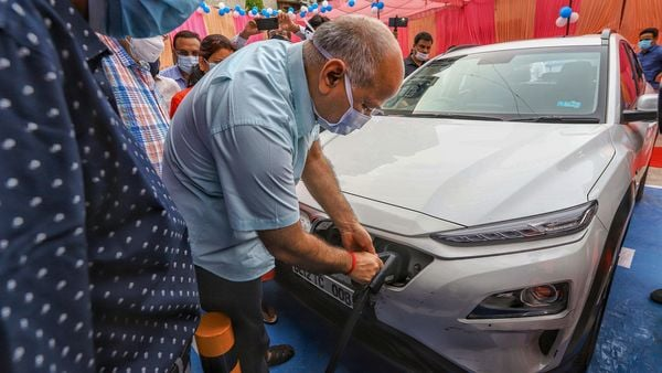 File photo of Delhi's Deputy Chief Minister Manish Sisodia during the inauguration of an electric vehicle charging station, at 11KV substation, Patparganj. (PTI)