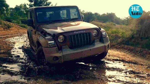 Mahindra Thar 2020 in action on an off-road track. (HT Auto/Sabyasachi Dasgupta)